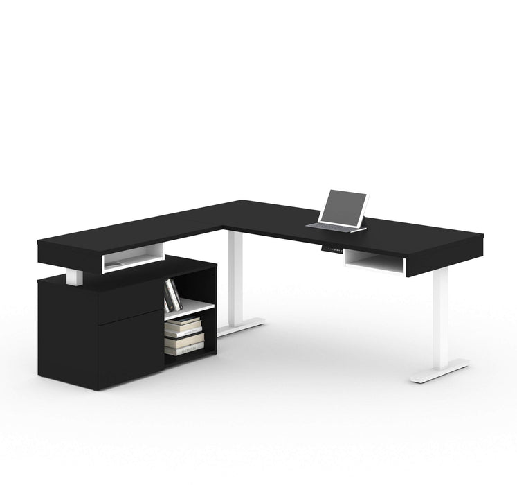 Pending - Bestar L-Desk Black & White Viva 2-Piece Set including an L-shaped standing desk and a credenza - Available in 2 Colours