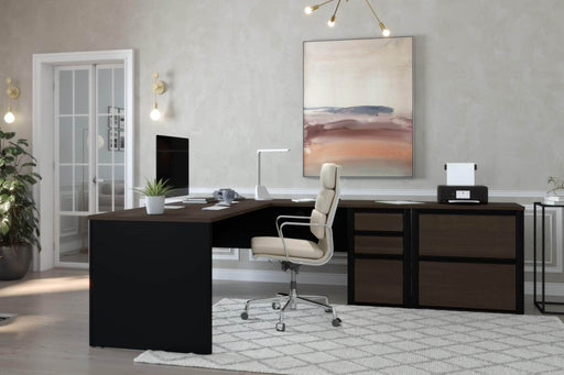 Pending - Bestar L-Desk Connexion 2-Piece set including an L-shaped desk and a lateral file cabinet - Available in 3 Colors