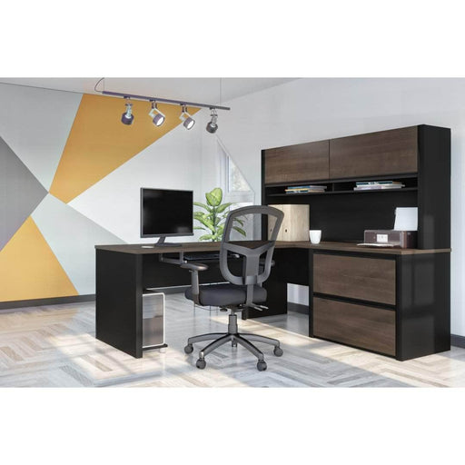 Pending - Bestar L-Desk Connexion L-Shaped Desk with Lateral File Cabinet and Hutch - Available in 3 Colors