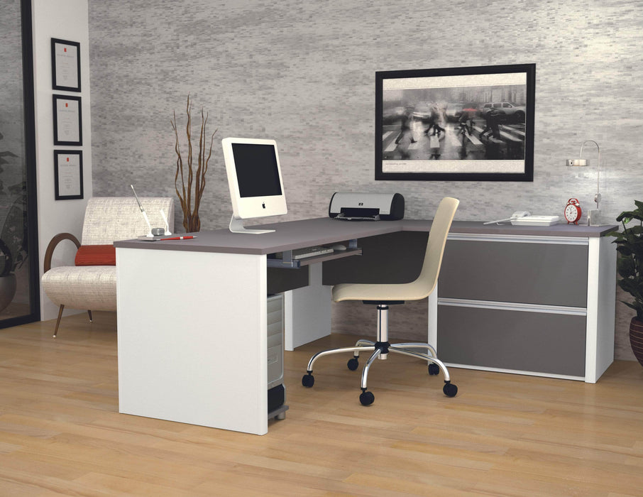 Pending - Bestar L-Desk Connexion L-Shaped Desk with Lateral File Cabinet - Available in 3 Colors