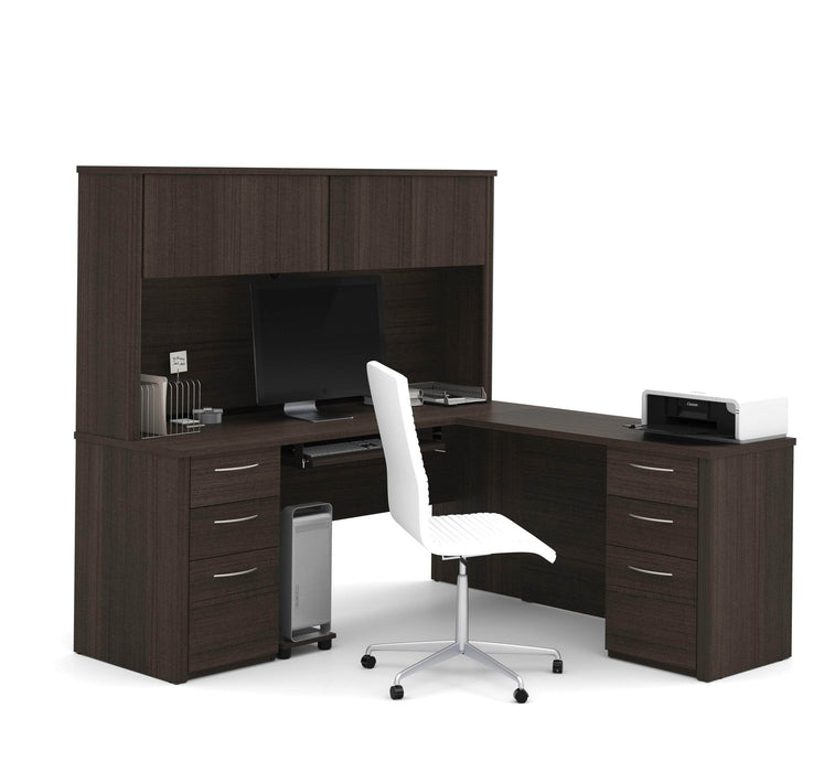 Pending - Bestar L-Desk Dark Chocolate Embassy L-Shaped Desk with Hutch and 2 Pedestals - Available in 2 Colours