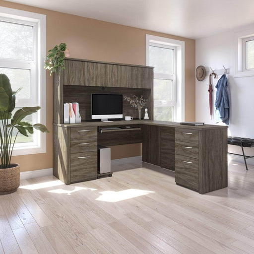 Pending - Bestar L-Desk Embassy L-Shaped Desk with 2 Pedestals and Hutch - Available in 2 Colours