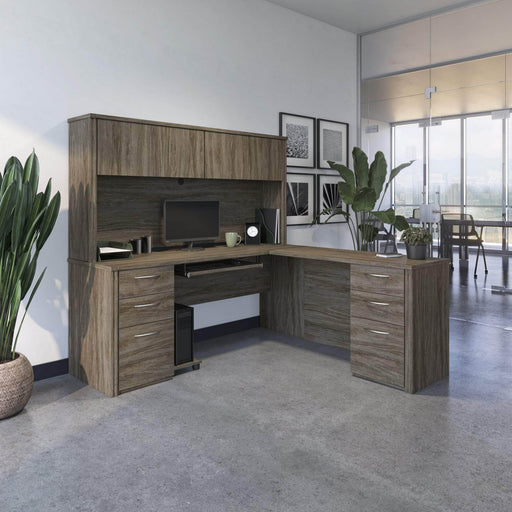 Pending - Bestar L-Desk Embassy L-Shaped Desk with Hutch and 2 Pedestals - Available in 2 Colours