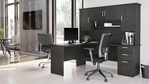 Pending - Bestar L-Desk Murzim L-Shaped Desk with Hutch - Available in 2 Colours