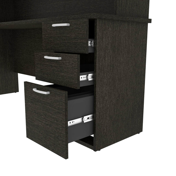 Pending - Bestar L-Desk Murzim L-Shaped Desk with Hutch - Available in 2 Colors