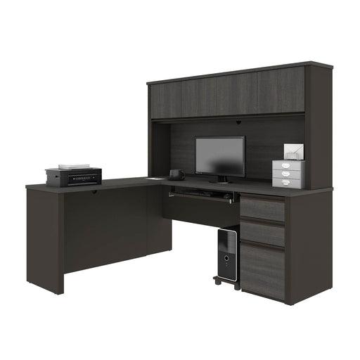Pending - Bestar L-Desk Prestige + 72W L-Shaped Desk with Pedestal and Hutch - Available in 3 Colours