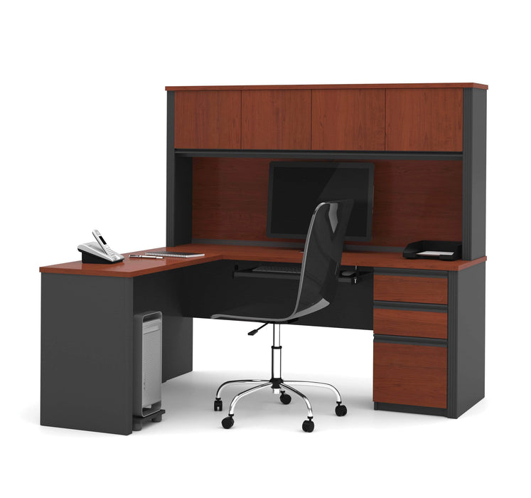 Pending - Bestar L-Desk Prestige + 72W L-Shaped Desk with Pedestal and Hutch - Available in 3 Colors