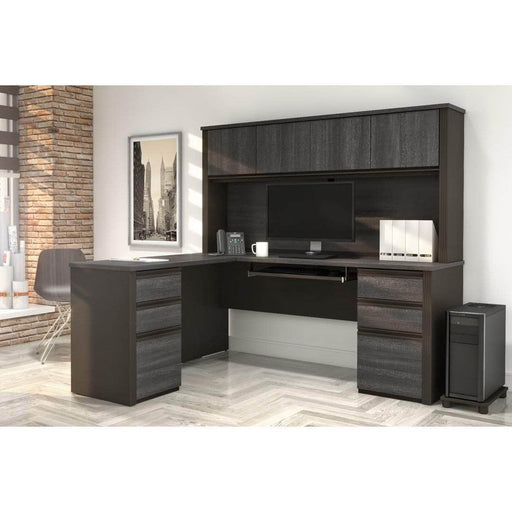 Pending - Bestar L-Desk Prestige + Modern L-Shaped Office Desk with Two Pedestals and Hutch - Available in 3 Colors
