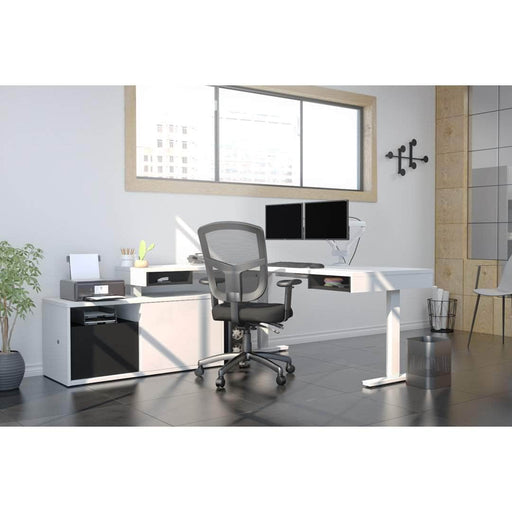 Pending - Bestar L-Desk Pro-Vega L-Shaped Standing Desk with Credenza and Dual Monitor Arm - Available in 2 Colours