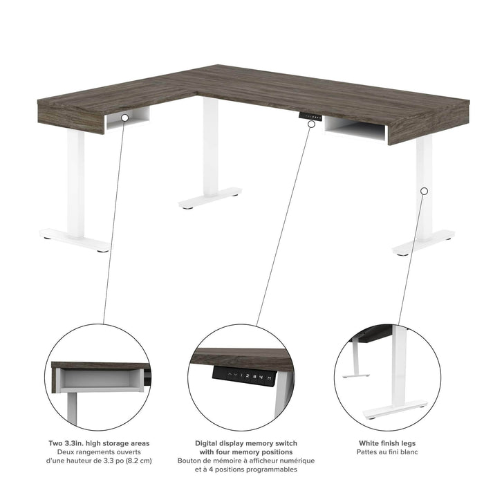 Pending - Bestar L-Desk Pro-Vega L-Shaped Standing Desk with Credenza and Hutch - Available in 2 Colors