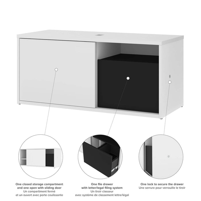 Pending - Bestar L-Desk Pro-Vega L-Shaped Standing Desk with Credenza - Available in 2 Colors