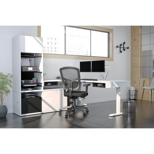 Pending - Bestar L-Desk Pro-Vega L-Shaped Standing Desk with Credenza, Hutch, and Dual Monitor Arm - Available in 2 Colours