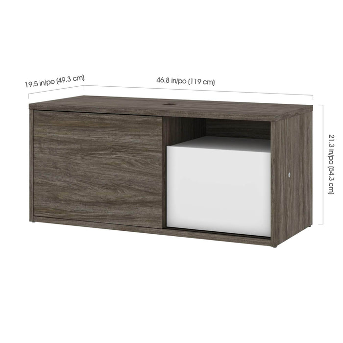 Pending - Bestar L-Desk Pro-Vega L-Shaped Standing Desk with Credenza, Hutch, and Dual Monitor Arm - Available in 2 Colors