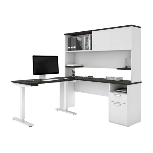 "Pending - Bestar L-Desk Upstand 24"" x 48"" Standing Desk and 1 Credenza with Hutch - Available in 3 Colors"