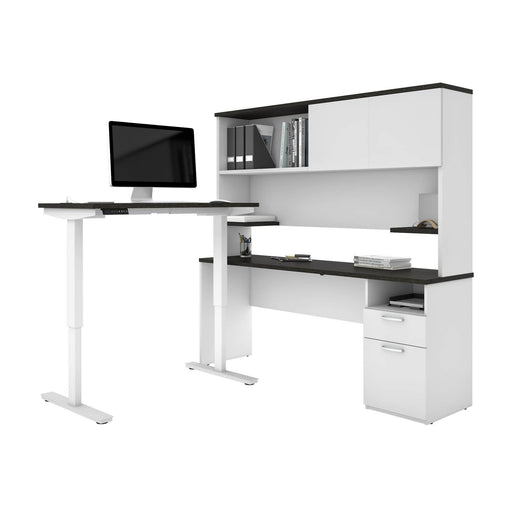 "Pending - Bestar L-Desk Upstand 24"" x 48"" Standing Desk and 1 Credenza with Hutch - Available in 3 Colours"