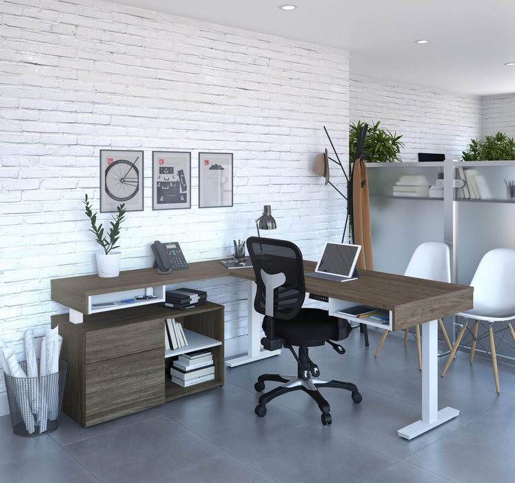 Pending - Bestar L-Desk Viva 2-Piece Set including an L-shaped standing desk and a credenza - Available in 2 Colours