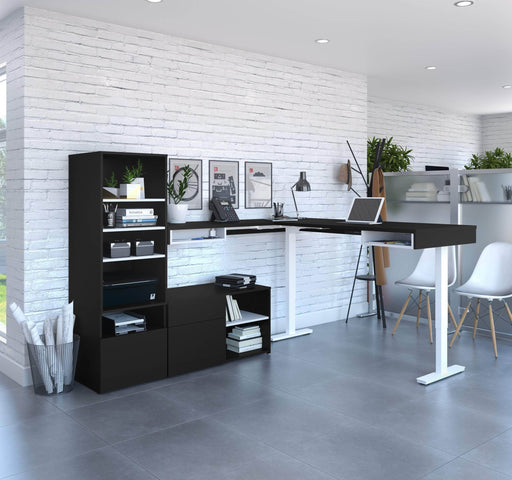 Pending - Bestar L-Desk Viva 3-Piece set including an L-Shaped standing desk, a credenza, and a hutch - Available in 2 Colours