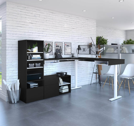 Pending - Bestar L-Desk Viva 4-Piece Set including an L-shaped standing desk, a storage unit, a credenza, and a dual monitor arm - Available in 2 Colours