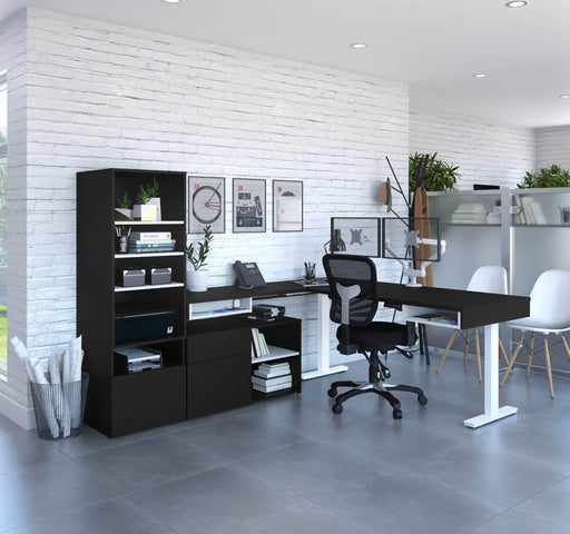 Pending - Bestar L-Desk Viva 4-Piece Set including an L-shaped standing desk, a storage unit, a credenza, and a dual monitor arm - Available in 2 Colors