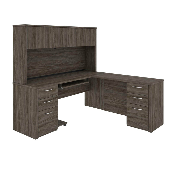 Pending - Bestar L-Desk Walnut Grey Embassy L-Shaped Desk with Hutch and 2 Pedestals - Available in 2 Colors