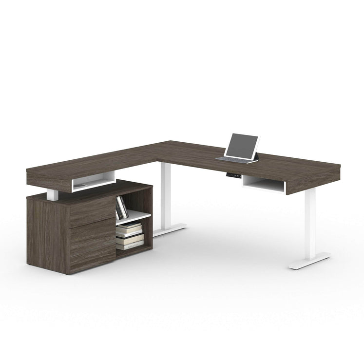 Pending - Bestar L-Desk Walnut Grey Viva 2-Piece Set including an L-shaped standing desk and a credenza - Available in 2 Colours