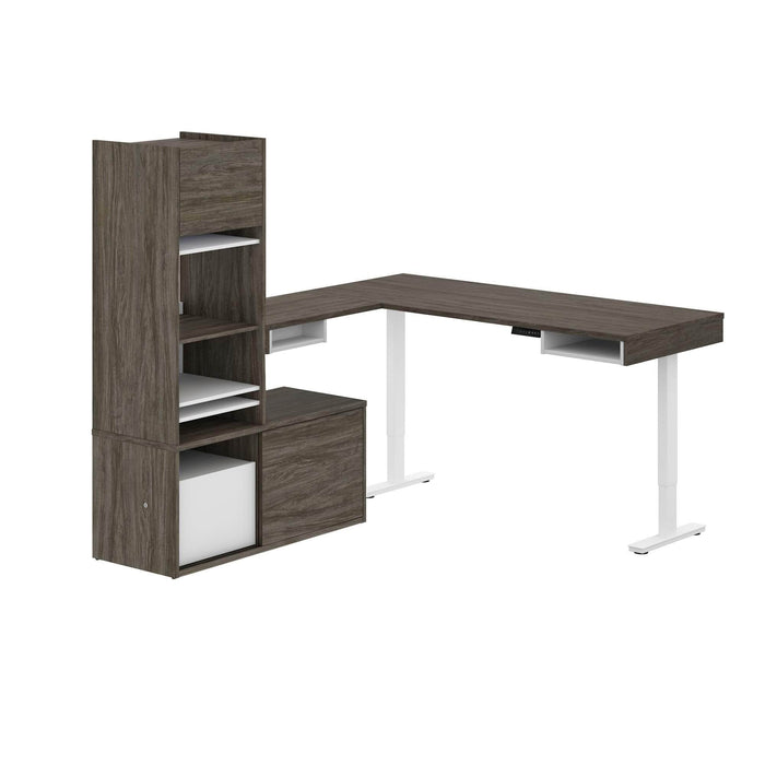 Pending - Bestar L-Desk Walnut Grey & White Pro-Vega L-Shaped Standing Desk with Credenza and Hutch - Available in 2 Colors