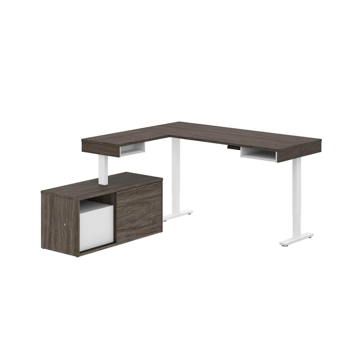 Pending - Bestar L-Desk Walnut Grey & White Pro-Vega L-Shaped Standing Desk with Credenza - Available in 2 Colours