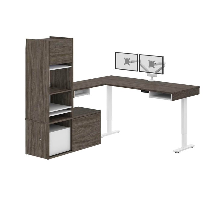 Pending - Bestar L-Desk Walnut Grey & White Pro-Vega L-Shaped Standing Desk with Credenza, Hutch, and Dual Monitor Arm - Available in 2 Colors