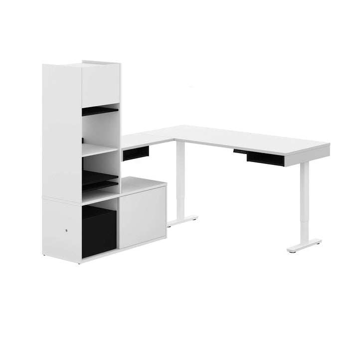 Pending - Bestar L-Desk White & Black Pro-Vega L-Shaped Standing Desk with Credenza and Hutch - Available in 2 Colours