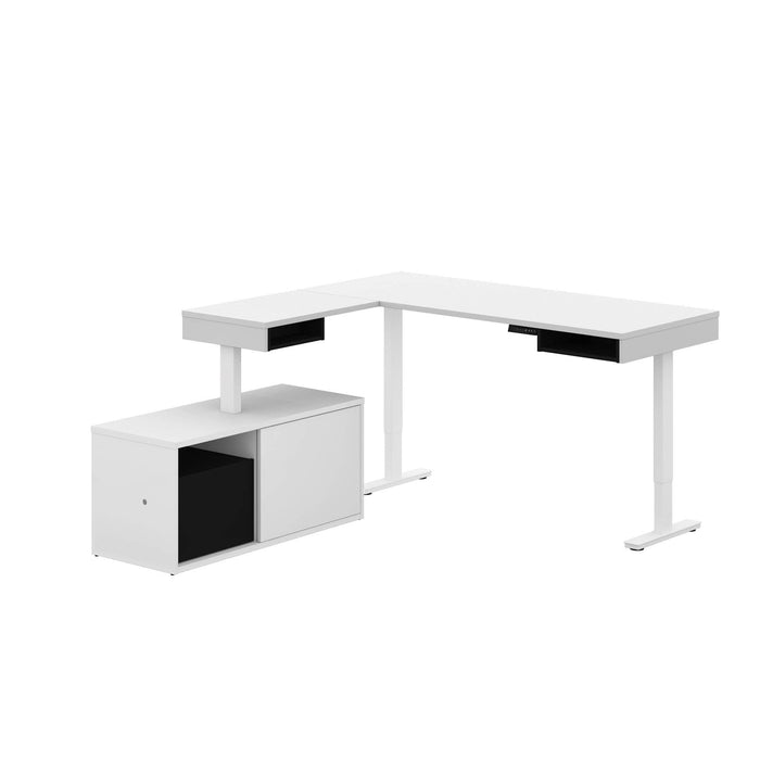 Pending - Bestar L-Desk White & Black Pro-Vega L-Shaped Standing Desk with Credenza - Available in 2 Colours