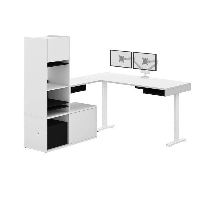 Pending - Bestar L-Desk White & Black Pro-Vega L-Shaped Standing Desk with Credenza, Hutch, and Dual Monitor Arm - Available in 2 Colors