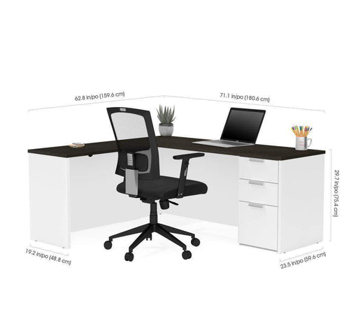 Pending - Bestar L-Shaped Desk with Pedestal - Available in 2 Colours