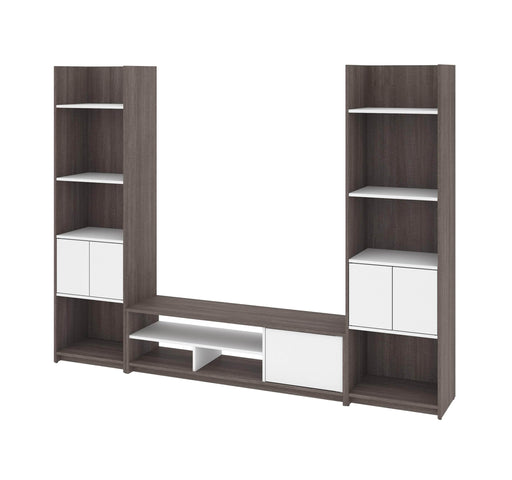 Pending - Bestar Living Room Table Bark Grey & White Small Space 3-Piece set including shelving units and a TV stand - Bark Grey & White