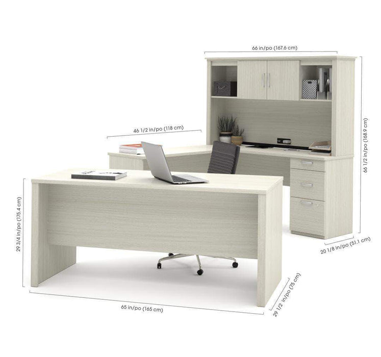 Pending - Bestar Logan U-Shaped Desk with Hutch, Lateral File Cabinet, and Bookcase - Available in 3 Colors