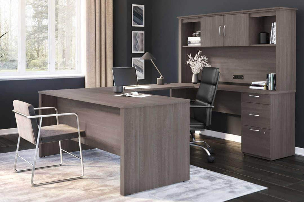 Pending - Bestar Logan U-Shaped Desk with Pedestal and Hutch - Available in 3 Colours