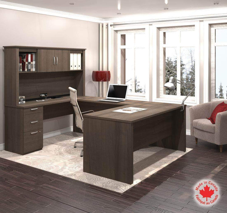 Pending - Bestar Logan U-Shaped Desk with Pedestal and Hutch - Available in 3 Colors