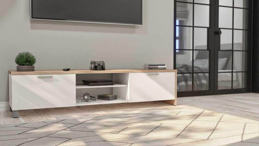 Lucida TV Stand - Rustic Brown & White