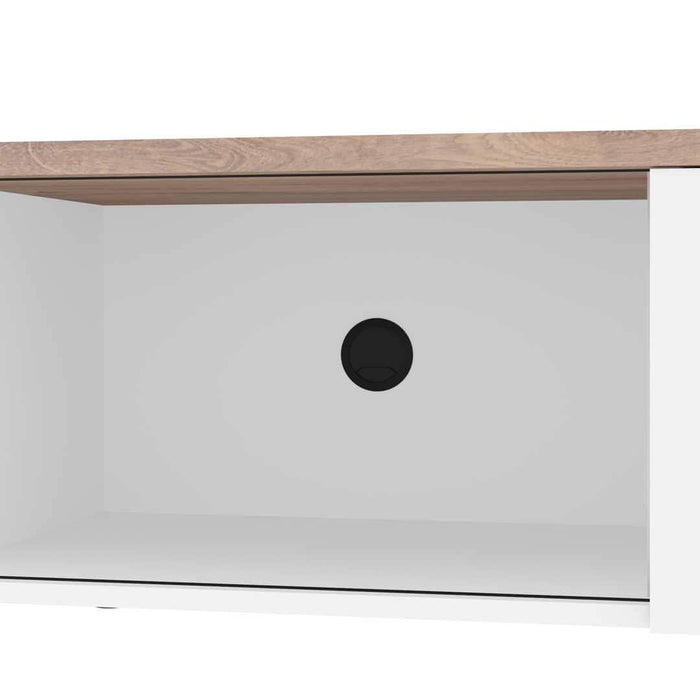 Pending - Bestar Lucida TV Stand - Rustic Brown & White