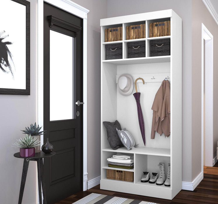 "Pending - Bestar Mudroom Storage Pur 36"" Mudroom Storage Unit with Bench - Available in 2 Colours"