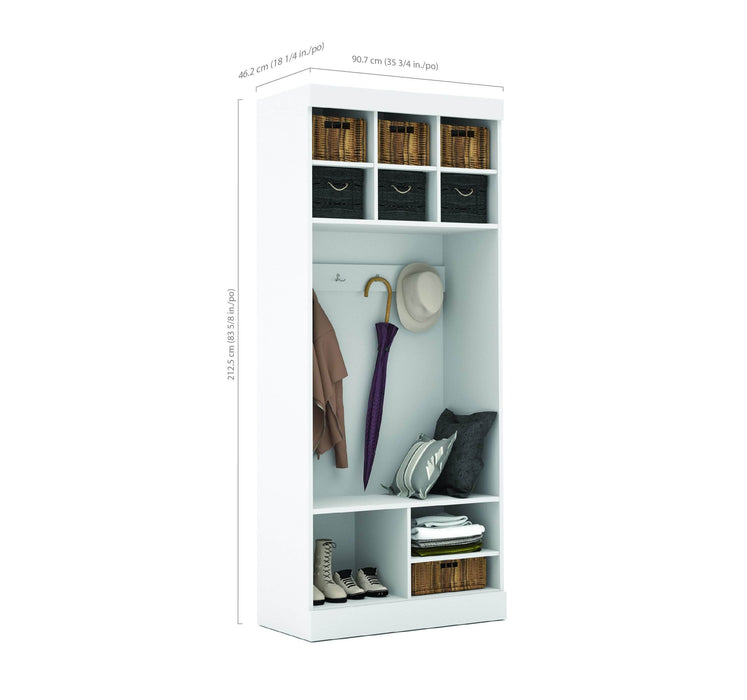 "Pending - Bestar Mudroom Storage White Pur 36"" Mudroom Storage Unit with Bench - Available in 2 Colours"