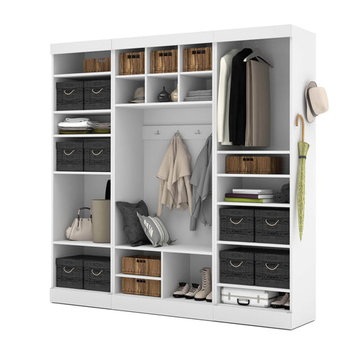 "Pending - Bestar Mudroom Storage White Pur 86"" Mudroom Storage Unit with Bench - Available in 2 Colors"