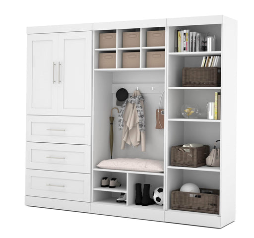 "Pending - Bestar Mudroom Storage White Pur 97"" Mudroom Storage Unit with Bench - White"