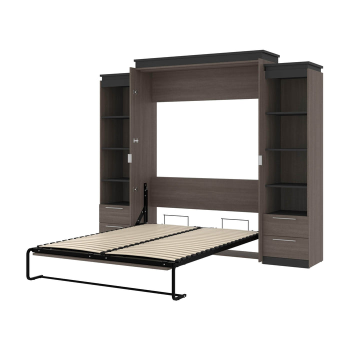 "Orion 104""W Queen Murphy Wall Bed with 2 Narrow Shelving Units and Drawers - Available in 2 Colors"