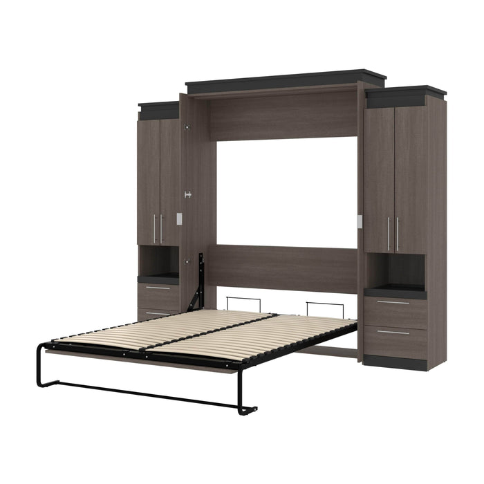 "Orion 104""W Queen Murphy Wall Bed with 2 Storage Cabinets and Pull-Out Shelves - Available in 2 Colors"