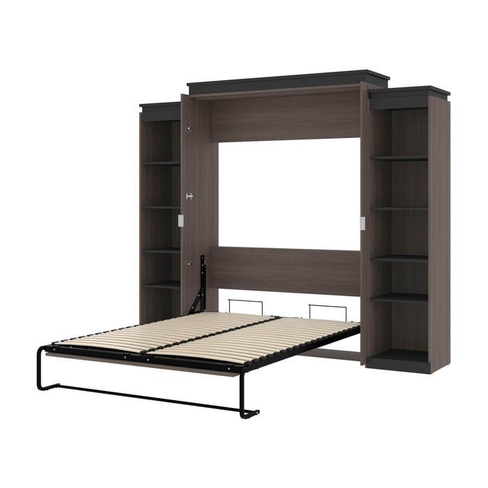 "Orion 104""W Queen Murphy Wall Bed with 2 Narrow Shelving Units - Available in 2 Colors"