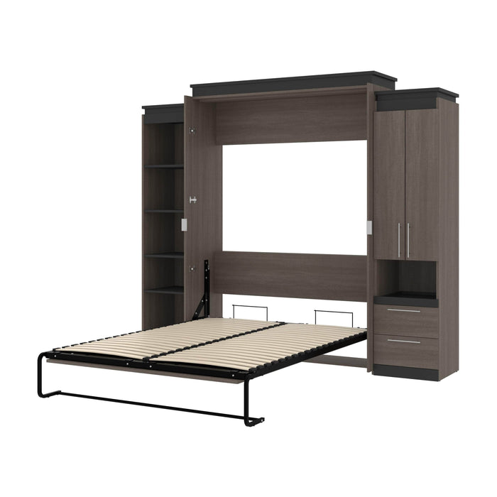 Pending - Bestar Murphy Beds Bark Gray & Graphite Orion 104W Queen Murphy Bed With Narrow Storage Solutions - Available in 2 Colors