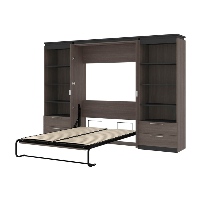 "Orion 118""W Full Murphy Wall Bed with 2 Shelving Units and Drawers - Available in 2 Colors"