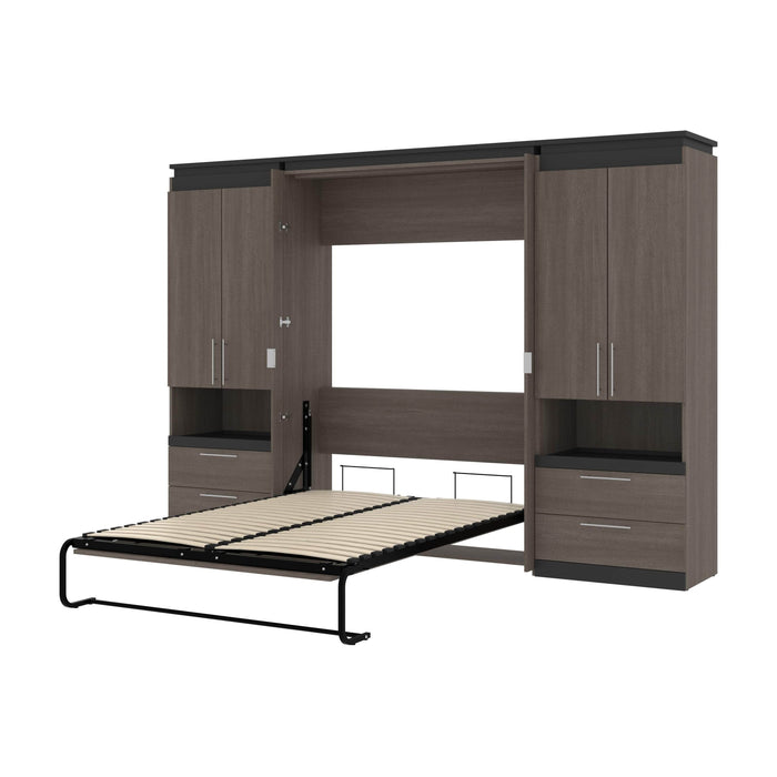 Pending - Bestar Murphy Beds Bark Gray & Graphite Orion 118W Full Murphy Bed And 2 Storage Cabinets With Pull-Out Shelves - Available in 2 Colors