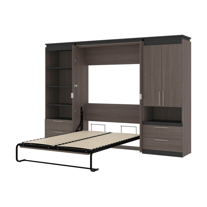 Pending - Bestar Murphy Beds Bark Gray & Graphite Orion 118W Full Murphy Bed And Multifunctional Storage With Drawers - Available in 2 Colors