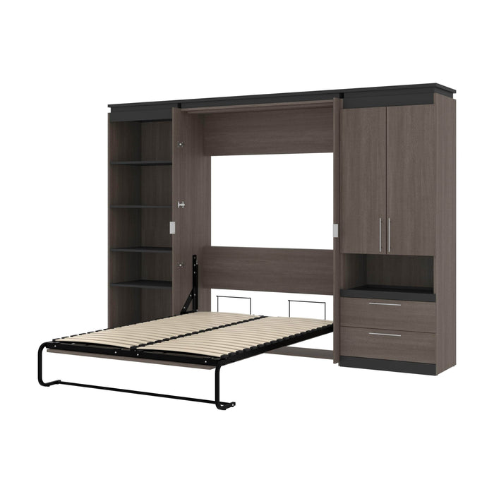 Pending - Bestar Murphy Beds Bark Gray & Graphite Orion 118W Full Murphy Bed With Multifunctional Storage - Available in 2 Colors
